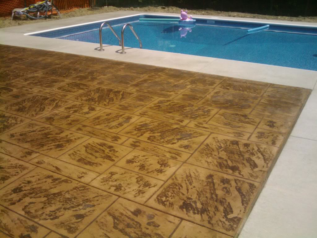 Concrete dye on pool deck