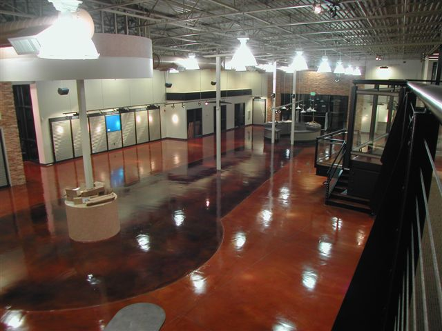 Harley Davidson with Stained Concrete Floor Showroom